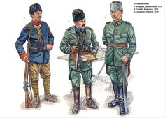 OTTOMAN ARMY:   1: Sergeant, Gendarmerie, 1912;  2: Captain, Engineers, 1913;  3: Lieutenant-General, 1912