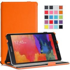 Moko Samsung Galaxy Tab PRO 8.4 Case - Slim-Fit Multi-angle Folio Cover Case for Galaxy TabPRO 8.4 Android Tablet, ORANGE (With Smart Cover Auto Wake / Sleep. WILL NOT Fit Samsung Galaxy Tab 4 8.0) MoKo http://www.amazon.com/dp/B00HYPNETS/ref=cm_sw_r_pi_dp_sk6Dvb040FP3H