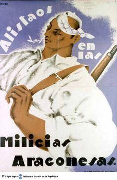 Alistaos en las milicias aragonesas :: Cartells del Pavelló de la República (Universitat de Barcelona)