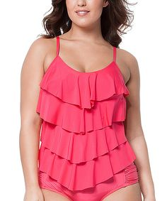 Loving this Coral Ruffle Tankini Top - Plus on #zulily! #zulilyfinds