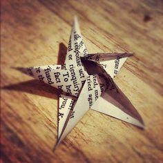 Newspaper print Five Point origami star, SO worth it!