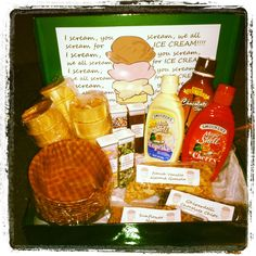 """Just Add Ice Cream"" Gift Basket. I made this for my husband's gift exchange at work."