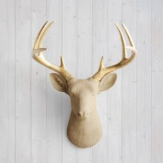 Wall Charmers™ Deer in Khaki + Gold Antler - Brown Tan Faux Head Fake Animal Fauxidermy Resin Ceramic Taxidermy Decor Mount Mounted Art