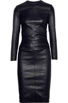 The Row Risting Ruched Leather Dress in Black (midnight)