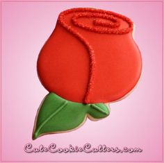 Our Red Rose cookie cutters are 3-1/2 inches tall, 2-1/2 inches wide, and are made of red plastic. We also carry a larger version measuring 5 inches tall, just over 3-1/2 inches wide. Cleaning instruc