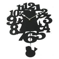 Zegar czarny z ptaszkami 40 cm