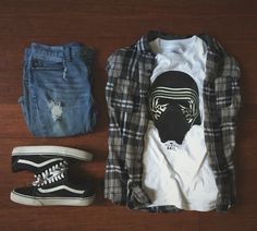 "Flannel: Quicksilver Shirt: BAIT x Star Wars ""Kylo"" Shoes: Vans ""Old Skool"" Pants: Bullhead ""stacked"""