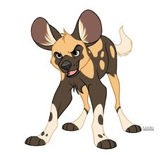 African Wild Dog Puppy by faithandfreedom on DeviantArt Cute Animal Drawings, Animal Sketches, Cartoon Drawings, Cute Drawings, Dog Drawings, Anime Animals, Cute Animals, Lion King Art, African Wild Dog