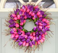 Spring Wreath -Spring Tulip Wreath - Tulip Door Wreath, via Etsy.