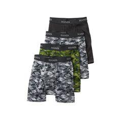 Boys Hanes Ultimate 4-Pack Boxer Briefs, Boy's, Size: XL, Grey