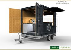 10ft-new-bespoke-coffee-shop-container - 3D Visual on Trailer