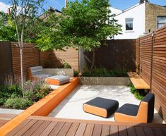 Corten steel, poured concrete, and hardwood become the unifying materials in this garden. The furniture is also bespoke Small Courtyard Gardens, Courtyard Design, Small Courtyards, Small Backyard Gardens, Small Gardens, Patio Design, Modern Garden Design, Garden Landscape Design, London Garden
