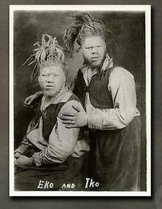 """Eko & Iko were actually George Muse (1893-1971) & Willie Muse (1892-2001), 2 Albino Afr-American twin brothers from Roanoke, VA. The lore is they were kidnapped from their hometown as children, taken on the road by 1st Al G. Barnes Circus, then Ringling Brothers. Their hair worked into woolly dreadlocks, billed variously as the """"White Ecuadorian Cannibals"""", the """"Sheep Headed Men"""", the """"Sheep Headed Cannibals"""", then finally the handle that took: the """"Ambassadors from Mars"""" or the """"Men from…"""