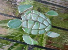 fused glass Sea Turtle turtle mosaic glass art by SoMiniature Sea Glass Mosaic, Sea Glass Art, Sea Glass Jewelry, Fused Glass, Sand Glass, Sea Art, Sea Glass Crafts, Sea Crafts, Mosaic Animals
