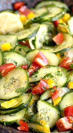 Fresh Lemon Cucumber Salad ~ A refreshing summer salad! | easy entertaining recipe