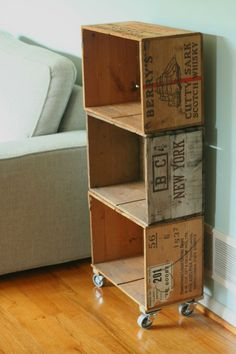 Whiskey boxes as a vintage roller shelf