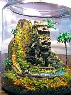 Tiki Idol Volcano  Miniature Hawaii Zen Garden  by Megatone230, $185.00