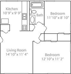 Floor Plan Under 500 Sq Ft | Standard Floor Plan  One Bedroom Apartment U2013  $505.00 Per Person Per ... | Small Space Living Ideas   For Me | Pinterest  ...