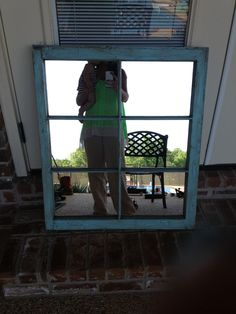 old windows craft ideas | Turned an old window pane into a mirror. | Craft Ideas
