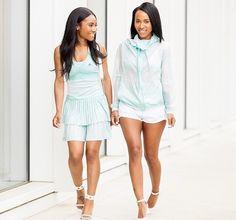 Twin fashion bloggers, Kay Lynn and Cari Rene in Adidas by Stella Mcartney.   Check out their post here: http://www.layllah.com/2015/05/adidas-x-stella-mccartney.html?m=1