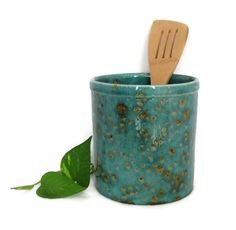 Kitchen Utensil Holder in Teal Blue and Brown
