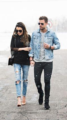 44 Best Men's Denim for Street Style - Fashionetter Fashion Couple, Look Fashion, Trendy Fashion, Mens Fashion, Fashion Black, Trendy Style, Fashion 2016, Style Men, Fashion News