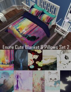 Cute Double Blanket & Pillows Set 2 at Enure Sims via Sims 4 Updates  Check more at http://sims4updates.net/objects/decor/cute-double-blanket-pillows-set-2-at-enure-sims/