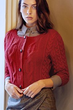 Free Knitting Pattern for Dawn Cardigan - Designed by Martin Storey, this cropped cardigan features stunning cables, ballet neckline, and elbow length sleeves. Cardigan Design, Knit Cardigan Pattern, Cable Cardigan, Knit Shrug, Sweater Knitting Patterns, Cropped Cardigan, Knitting Designs, Free Knitting, Knitting Stitches