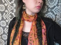 100% Silk Hand Woven Scarf Made In India Indian Scarf Boho Hippie Festival Floral Vine Leaf Eastern Motif Psychedelic Yellow Pink Burgundy