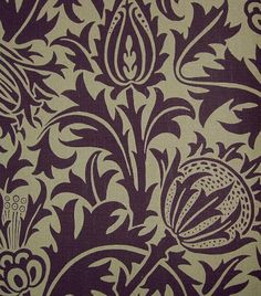 Thistle Linen Fabric: Mulberry on greige linen fabric depicting thistle flowers