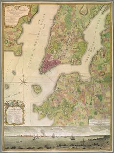 Magnificent Maps of New York : Bernard Ratzer, PLAN of the CITY of NEW YORK, in North America Surveyed in the Years 1766 & 1767. [London: about 1770]. Copperplate engraving with hand colour.