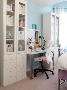 Even though this office is in a bedroom, I love the amount of storage space, smartly designed, that fits in such a small space.