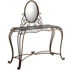 Vanity, thy name is Aledo. Elaborate wrought ironwork in the Art Nouveau style features French scroll detail and a bronze-colored finish. Cabriole legs are braced with ornamental stretchers for added stability and visual appeal.