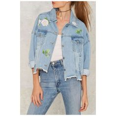 Asymmetric Hem Lapel Single Breasted Floral Printed Long Sleeve Denim... (185 RON) ❤ liked on Polyvore featuring outerwear, coats, long sleeve jean jacket, floral denim jacket, blue jean jacket, floral print jean jacket and blue coat