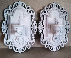 Set Of 2 Shabby White Ornate Wall Sconces Upcycled Distressed Cottage Chic Candle Holder