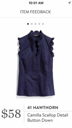 I like the simplicity of this top with just the scallop detail at the neck and sleeves. I also like that it's modest enough for the office. Ruffle Neck Blouse, Ruffle Collar, Stitch Fit, Future Clothes, Stitch Fix Outfits, Stitch Fix Stylist, Nice Tops, What To Wear, Style Me