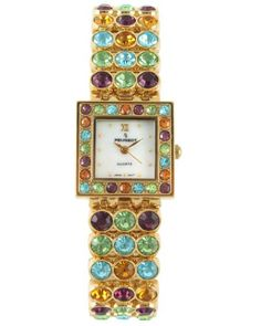 Women's Wrist Watches - Peugeot Womens 835G Square GoldTone Multi Color Crystal Bracelet Watch >>> See this great product.