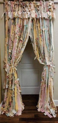 Rag Curtains Boho Garland Rustic Boho Curtain Shabby Chic Curtain ...