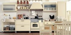 Minacciolo Country Kitchens Design from Italian:Brown And White Tile Backsplash For Vintage Kitchen Design With Wall Cabinet Furniture