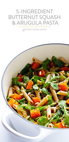 5-Ingredient Butternut Squash, Arugula and Goat Cheese Pasta Recipe | gimmesomeoven.com