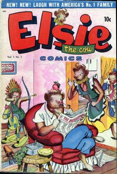 the adventures of Elsie the Cow and her family. It was published by footnote comics publisher  D.S. Publishing which lasted only though half of 1948 publishing this three issue comic