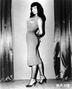 Bettie Page in the wiggle dress