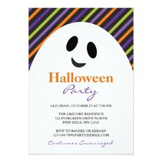 Ghost Stripes Halloween Party Invitations - birthday invitations diy customize personalize card party gift