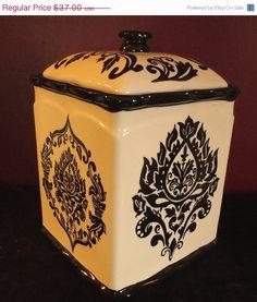 SALE Vintage Gothic Black White Damask Kitchen Tea Canister on Etsy, $33.30