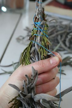 Smudge stick tutorial- clear your space of negative energy. I grow all the herbs and make all of my own Smudge bundles. It is a very satisfying thing to do. The Lady Ella HPS