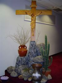 Lent display mount calvary decorating pinterest lent for Lent decorations for home