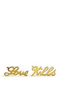 Shop Love Kills Gold Studs by House of Waris - Moda Operandi