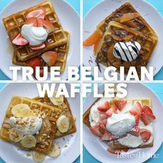 "True Belgian Waffles Recipe I don't know about ""true"" (I'll save that for after I make it to Belgium) but these sound deliciously light and aory Brunch Recipes, Dessert Recipes, Brunch Ideas, Coffe Recipes, Waffle Maker Recipes, Belgium Waffle Recipes, Pancake Recipes, Belgium Waffles, Mushrooms"