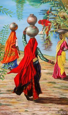Punjabi Indian artwork of Village women.Punjabi Indian artwork of Village women.Punjabi Indian artwork of Village women. Village Scene Drawing, Art Village, Rajasthani Painting, Rajasthani Art, Indian Artwork, Indian Folk Art, Composition Painting, Black Art Painting, Painting Tips