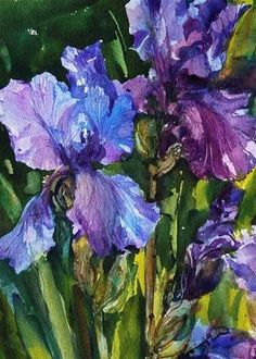 "Daily Paintworks - ""The Iris Garden"" - Original Fine Art for Sale - © Linda Henry"